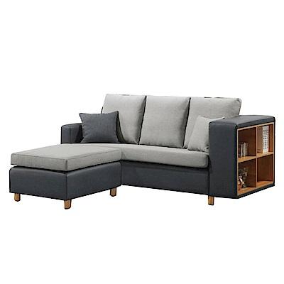 品家居 布諾耐磨皮革&亞麻布L型沙發(三人+凳)-195x160x95-免組