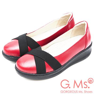 G.Ms. 牛皮交叉鬆緊帶厚底坡跟鞋-紅色