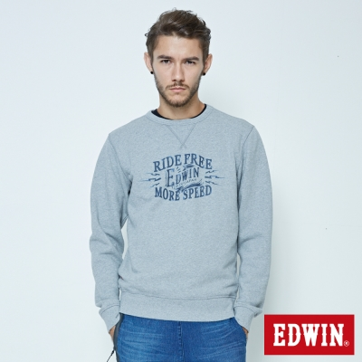 EDWIN 大學T衛衣長袖T恤-男-麻灰