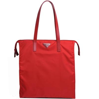 PRADA VELA 經典鐵牌LOGO尼龍手提/肩背購物包(紅)