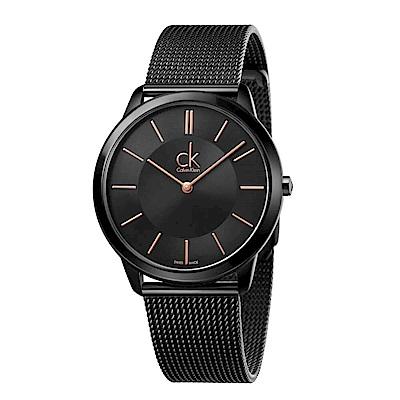 CK CALVIN KLEIN Minimal 系列時尚黑面手錶-40mm