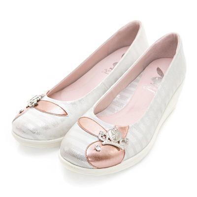 PLAYBOY 星光注目 GOPLAY條紋厚底娃娃鞋-白