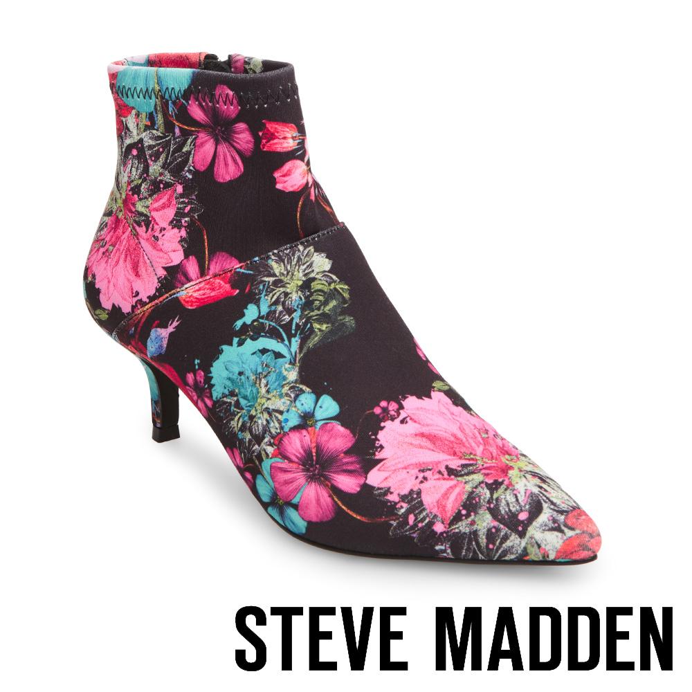 STEVE MADDEN-VIDA 尖頭細跟拉鍊短靴-花漾黑
