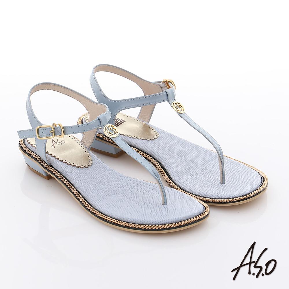 A.S.O 玩美涼夏 真皮動物紋環繞鎖鏈夾腳涼鞋 淺藍