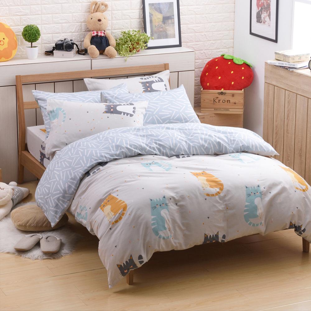 喬曼帝Jumendi-貓咪物語 台灣製單人三件式特級100%純棉床包被套組