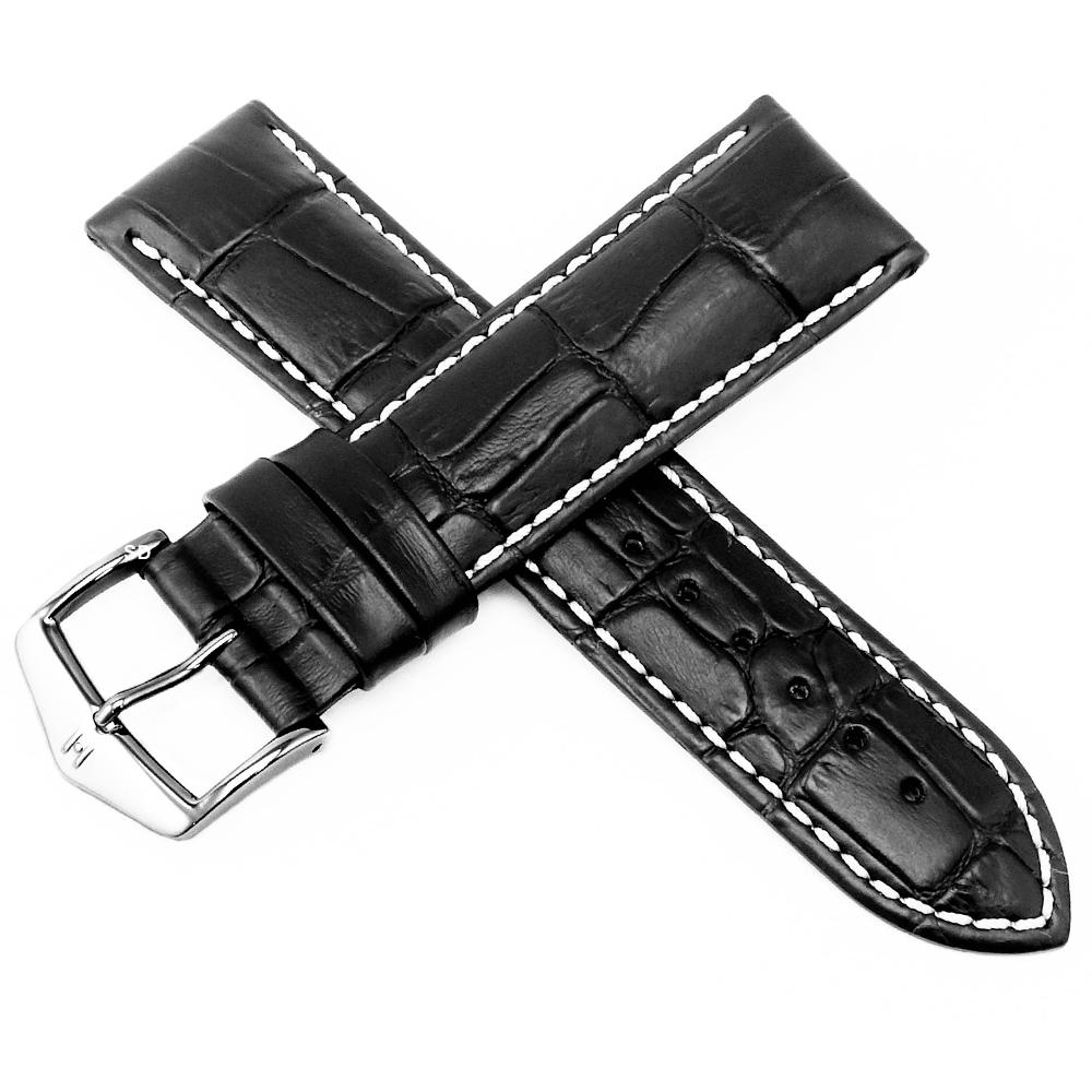 海奕施 HIRSCH Modena L 義大利小牛皮錶帶 防水可清洗 加厚款帶-黑