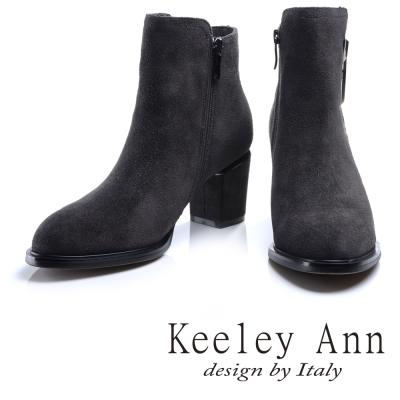 Keeley Ann 奢華高貴~菱形鑽飾全真皮粗中跟短靴(灰色)