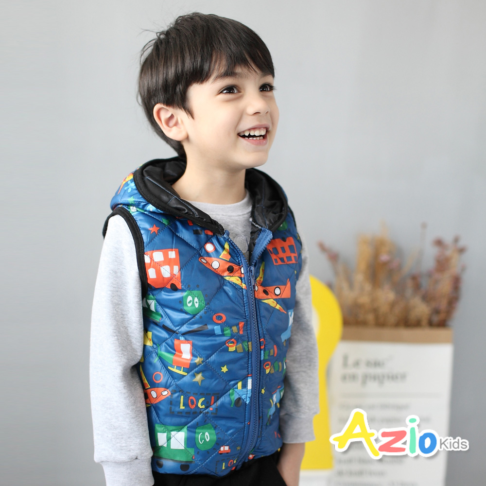 Azio Kids 童裝-背心 多彩汽車連帽背心(藍)