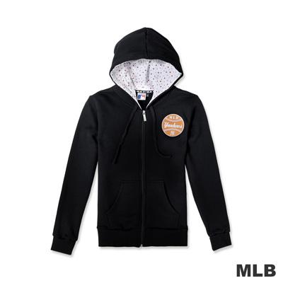 MLB-紐約洋基隊繽紛點點連帽長袖外套-黑色-女
