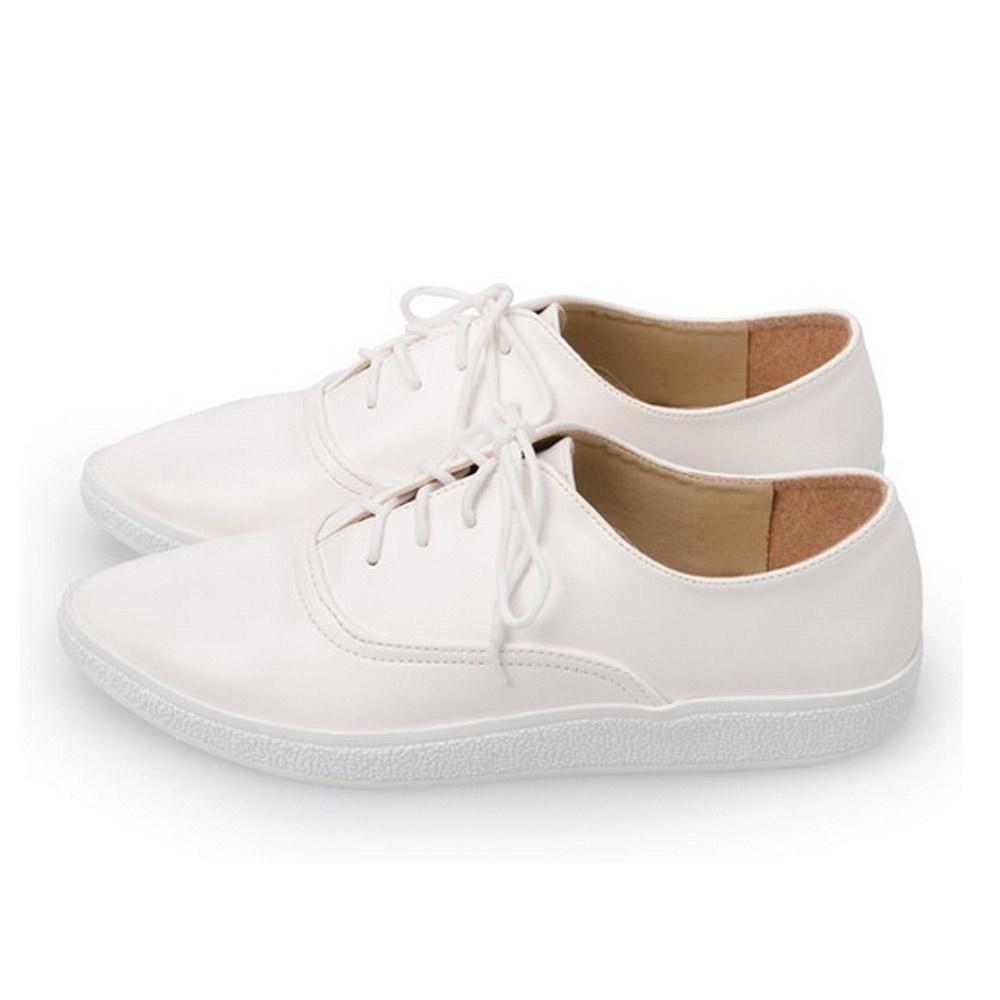 FUFA  MIT 質感尖頭綁帶休閒鞋 (FA40)-白色