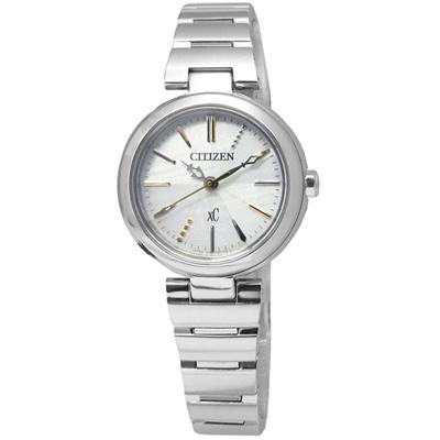 CITIZEN  XC典雅亮麗藍寶石水晶光動能手錶(FE2020-58A)-銀色/25mm