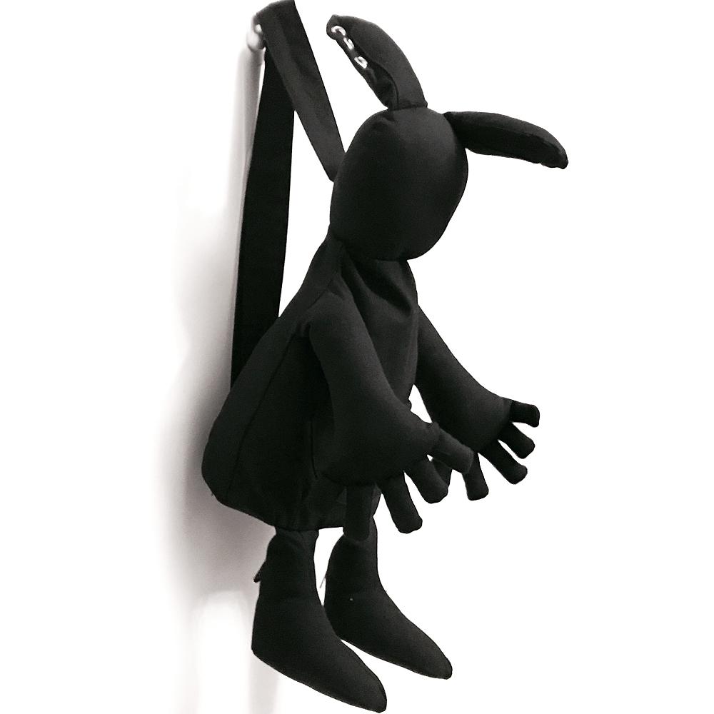 AJ.亞介 暗黑兔子-帆布後背包 (黑色)