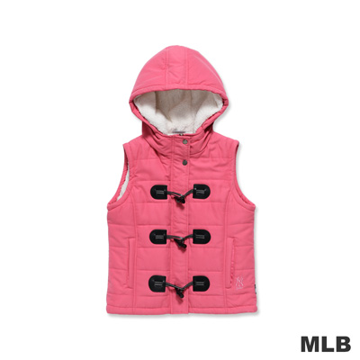 MLB-紐約洋基隊個性牛角扣連帽背心-桃紅(女)