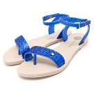 GRENDHA 閃亮金蔥踝帶涼鞋-晶藍