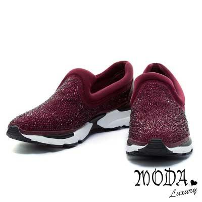 休閒鞋MODA-Luxury-奢華水鑽彈力萊卡尖頭平底休閒鞋-紫紅