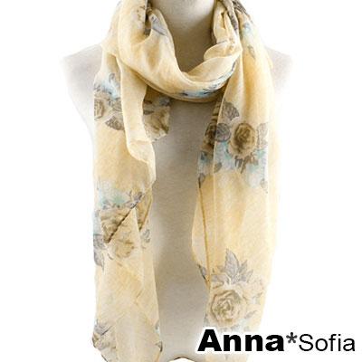 AnnaSofia 玫瑰細絮 巴黎紗披肩圍巾(黃底褐花系)