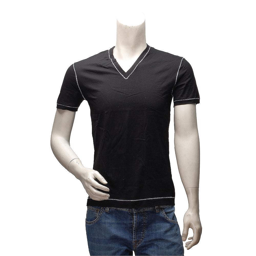 DOLCE & GABBANA D&G 經典款縫線飾邊V領短袖純棉素面T恤(黑)