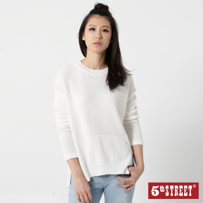 5th STREET 簡約開衩造型線衫-女-白色