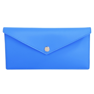 agnes b. 金色LOGO圓釦萬用夾-藍色