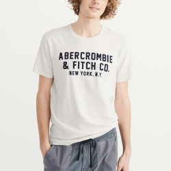 A&F 經典刺繡文字短袖T恤-白灰色 AF Abercrombie