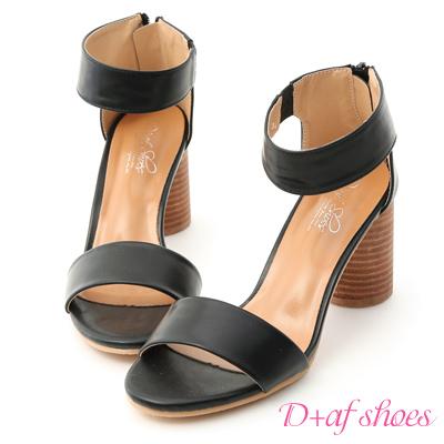 D+AF 時尚首選.極簡一字木紋高跟涼鞋*黑