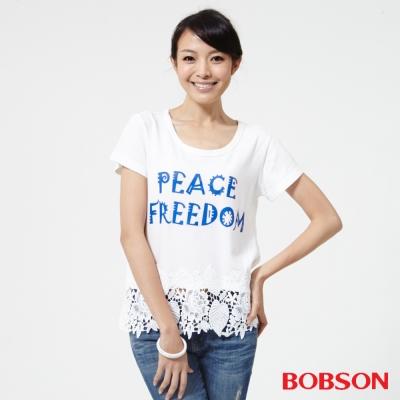 BOBSON  女款印圖搭配蕾絲上衣-白色