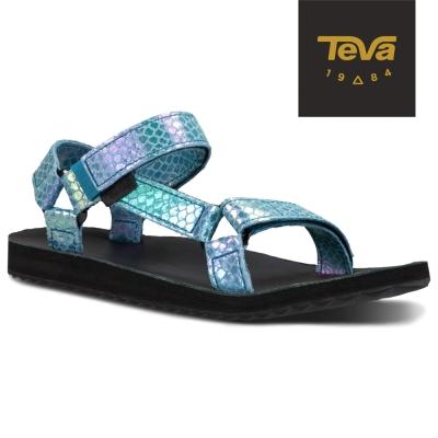 TEVA 美國-女 Original Universal 真皮涼鞋 (蛇紋藍)