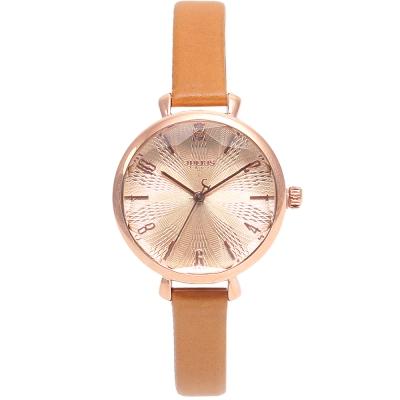 JULIUS聚利時 花漾時光立體鏡面皮錶帶腕錶-駝色/32mm