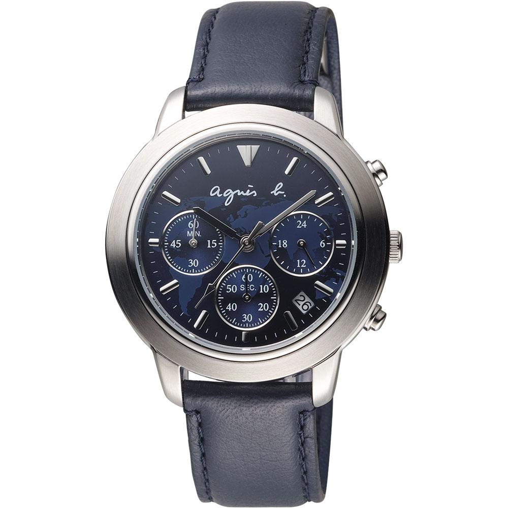 agnes b. 環遊世界地圖計時腕錶(BT3019X1)-藍/39mm