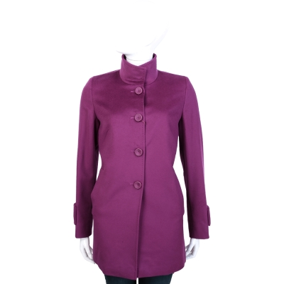 MaxMara 紫桃色立領設計釦式羊毛大衣