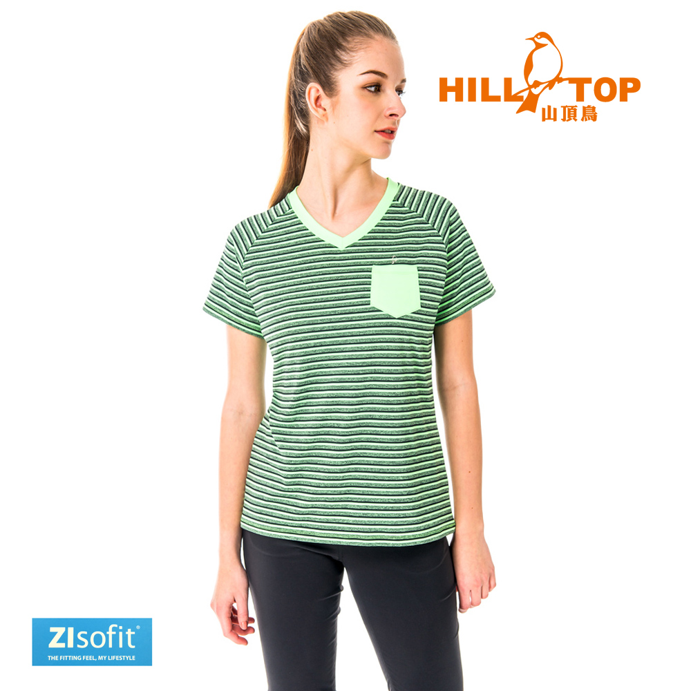 【hilltop山頂鳥】女款吸濕排汗抗UV彈性上衣S04FH3-青蘋果黑條紋