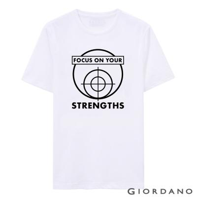 GIORDANO-男裝字母印花純棉修身短袖T恤-47-標志白色