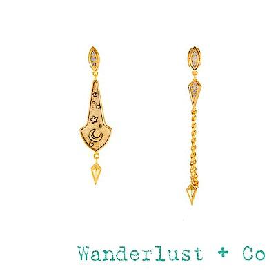 Wanderlust+Co 澳洲品牌 閃耀星系耳環 鑲鑽垂墜式耳環 不對稱設計 THEA