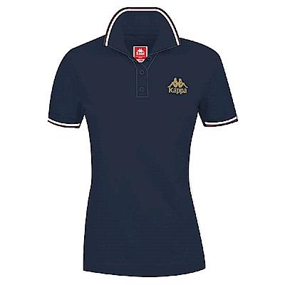 KAPPA義大利 時尚女棉質短袖POLO衫(合身版)藍