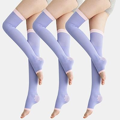 足下物語 台灣製 360丹美化曲線睡眠襪 3件組(紫)