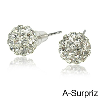 A-Surpriz  晶鑽球925純銀耳環