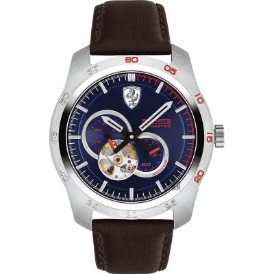 Scuderia Ferrari 法拉利 PRIMATO 鏤空機械錶-藍x咖啡/44mm