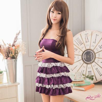 角色扮演 深紫緞面平口公主二件式角色扮演服(深紫+白F) Lorraine