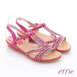 effie 輕量樂活 絨面羊皮水鑽T字平底涼鞋 桃粉紅