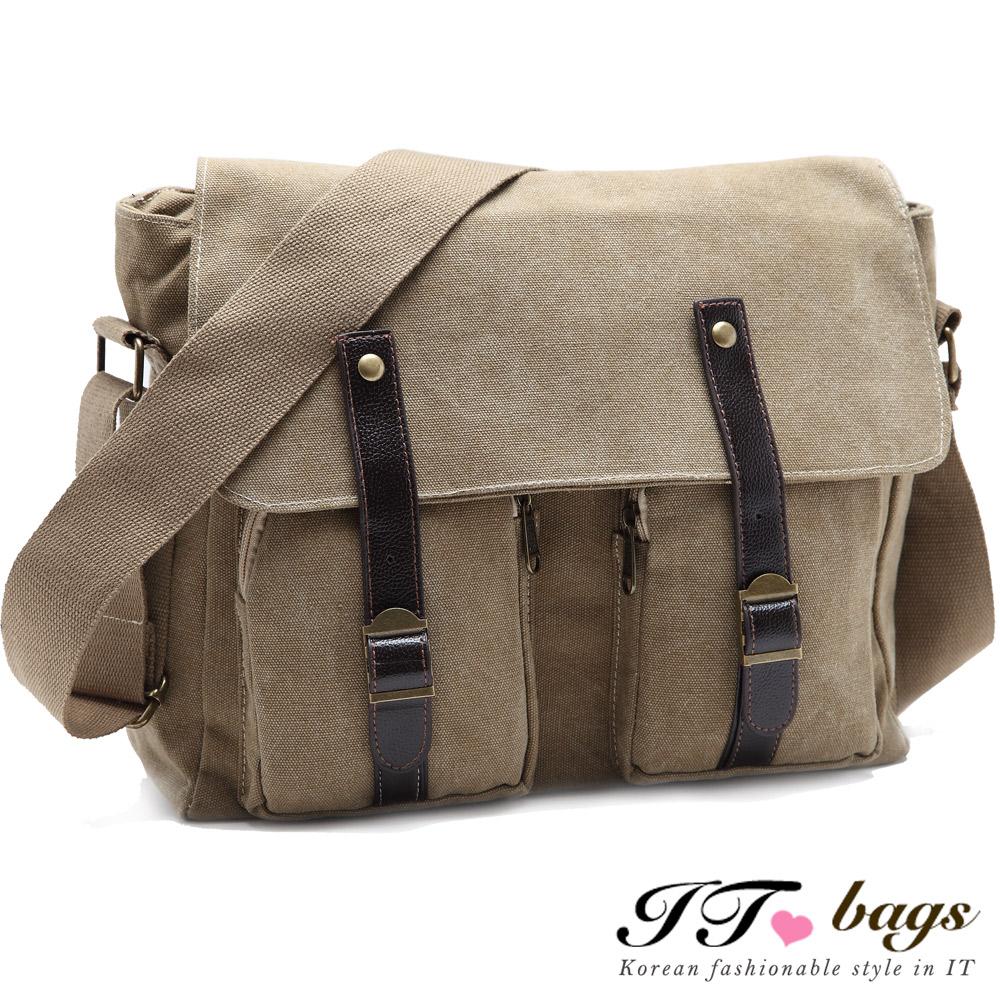 It Bags拓荒者雙袋皮帶磁釦帆布斜背包(共三色-咖/黑/綠)