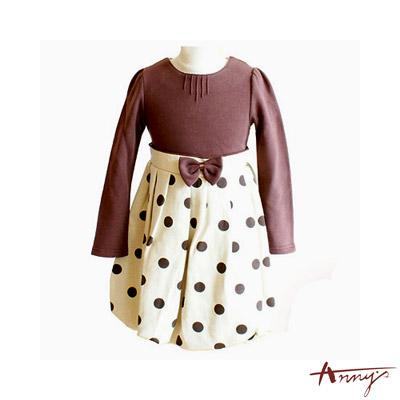 甜美圓領點點蝴蝶結長袖洋裝*0410咖啡