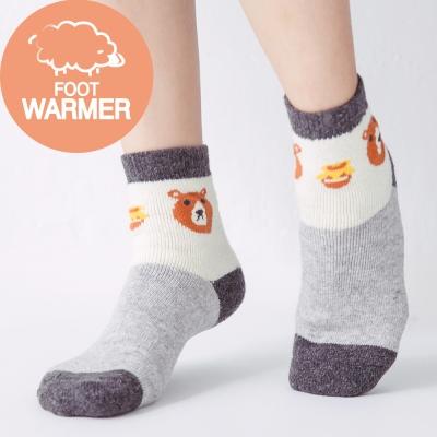 蒂巴蕾 厚絨毛圈襪-小熊