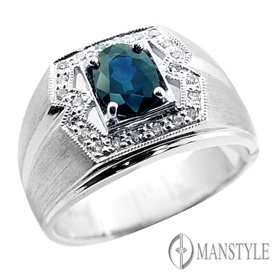 MANSTYLE 真生命天然藍寶鑽戒