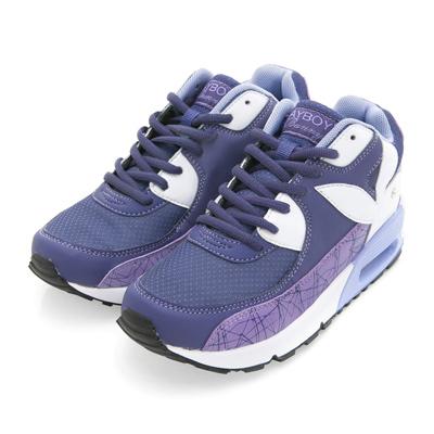 PLAYBOY 炫彩行頭 直紋線條氣墊運動鞋-紫