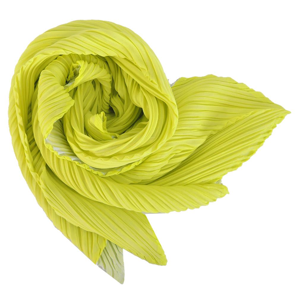 ISSEY MIYAKE 三宅一生PLEATS PLEASE雙色漸層O型圍巾(中/螢光綠)
