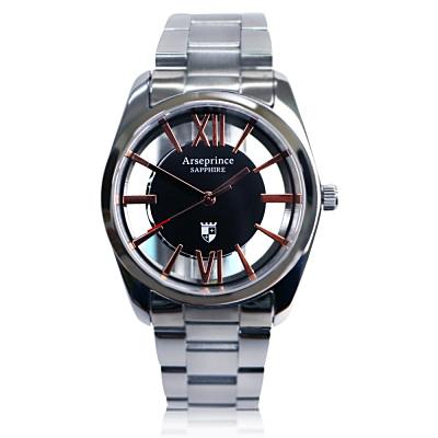 Arseprince 羅馬假期雙面鏤空時尚中性錶-黑金/35mm