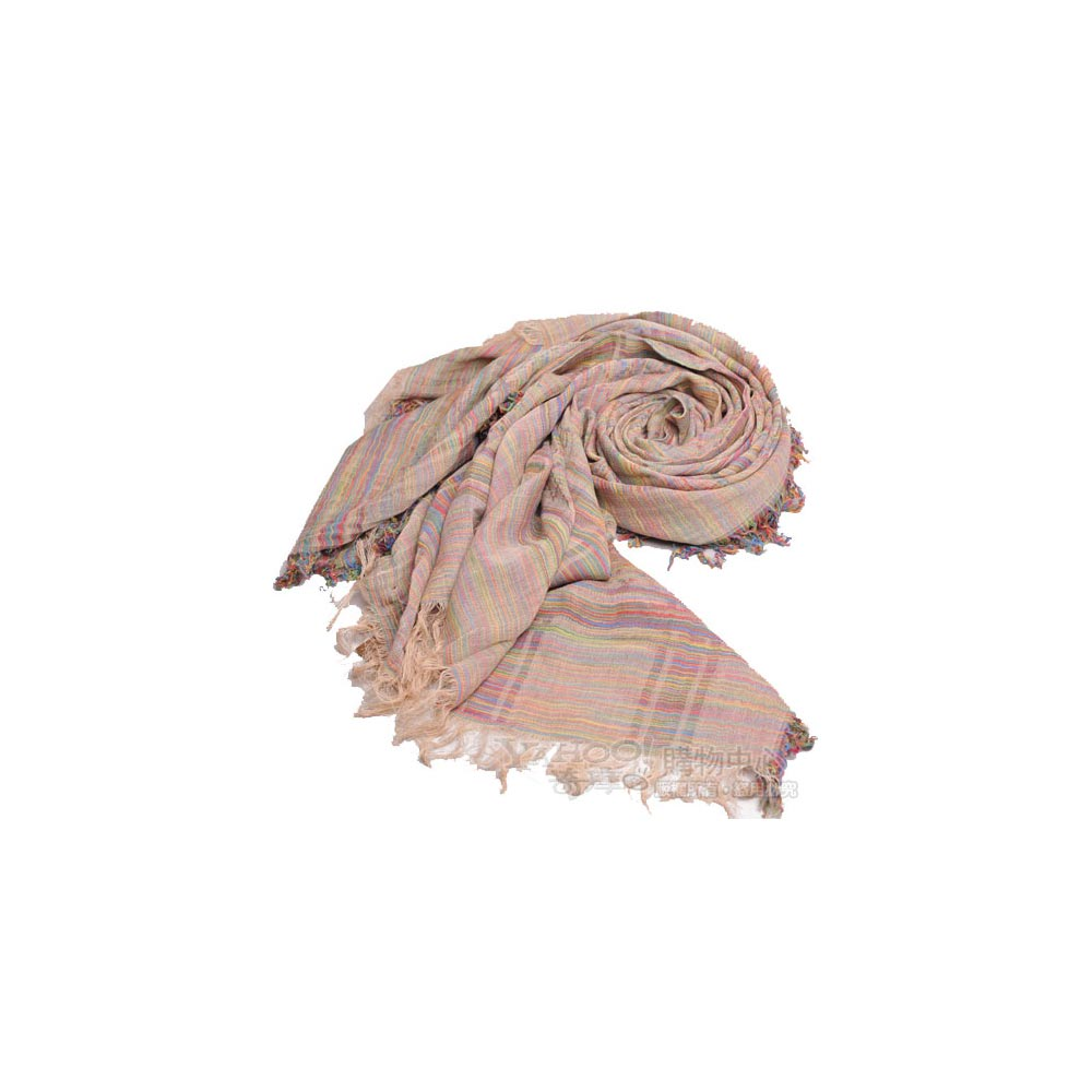 GUCCI  SU SILVER GG LOGO搭紋菱格100%棉披肩圍巾(彩虹紋)