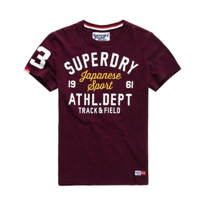 SUPERDRY 極度乾燥  型男短袖T恤 酒紅