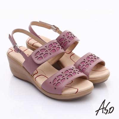 A.S.O 挺麗氣墊 全真皮寬楦鏤空氣墊楔型涼鞋 粉紅