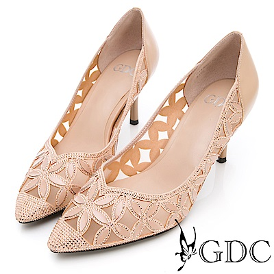 GDC-真皮花朵簍空水鑽氣質跟鞋(婚鞋)-米色